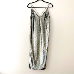 NWT ASOS Silver Sequined Midi Evening Slip Dress 6